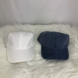 2 Adjustable Hat- Denim and White